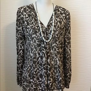 J.Jill Brown Pattern Sheer Front Wrap Blouse